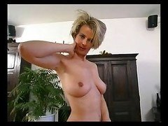 Blond milf strips for us. Jacalyn from 1fuckdate.com