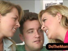 Big boobs milf Cherie Deville threeway with teen couple