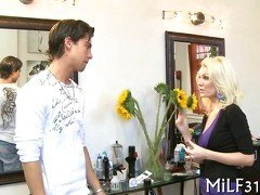 Blonde mature wants this young guy badly and isnt shy about it