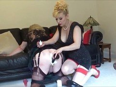 Madame C shaves slut Angelica&#039,s ass