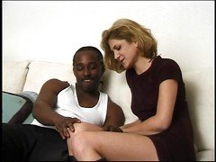 Black man eats and fucks white pussy in the couch