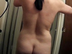 Unware wife getting into shower